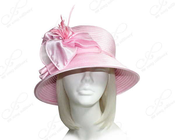 Mr. Song Millinery Medium Lampshade Brim Hat Brim With Organza Flower Accent - Pink