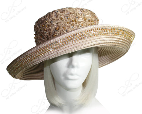 Mr. Song Millinery Wide Tiffany Brim Hat With Lace Crown & Crystals - Champagne Beige