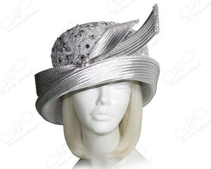 Mr. Song Millinery All-Season 2-Tier Crown Tiffany Brim Lace Hat - Silver