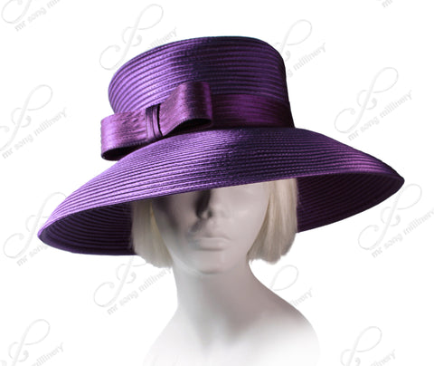 Wide Tiffany Brim Hat With Modern Bow Accent - Assorted Colors