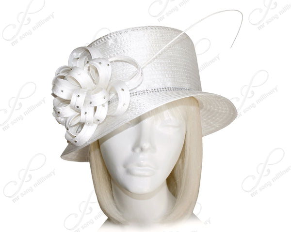 Mr. Song Millinery Classic Crown Small Brim With Floral Rhinestone Accent - White