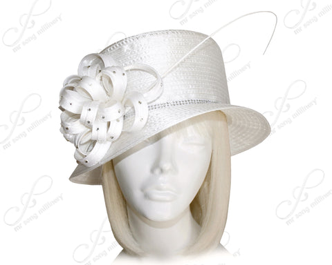 Classic Crown Small Brim With Floral Rhinestone Accent - White