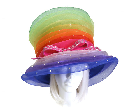 Mr. Song Millinery Beehive Crin Hat With Crystal Rhinestones - Multicolor