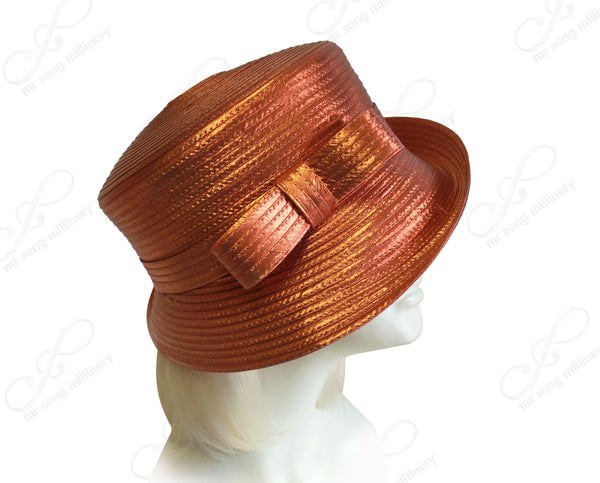 Medium Lampshade Brim Hat With Sleek Bow Accent - 4 Colors