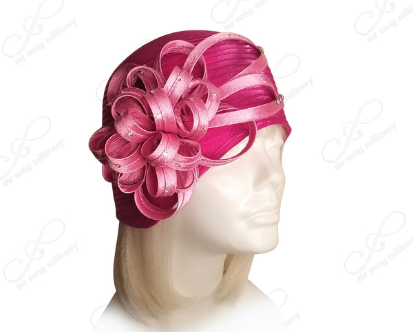 """Juliet"" Cloche Skull Hat With Ribbon Flower Accent - 2 COLORS"