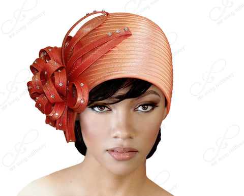 "Mr. Song Millinery ""Juliet"" Cloche Skull Hat With Ribbon Flower Accent - Mango/Coral"