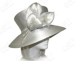 Mr. Song Millinery Flaretop Wide Brim Hat With Floral Accent - Gray