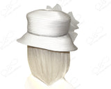 Medium Brim Hat Brim With Crin Flower & Rhinestone Band - 2 Colors