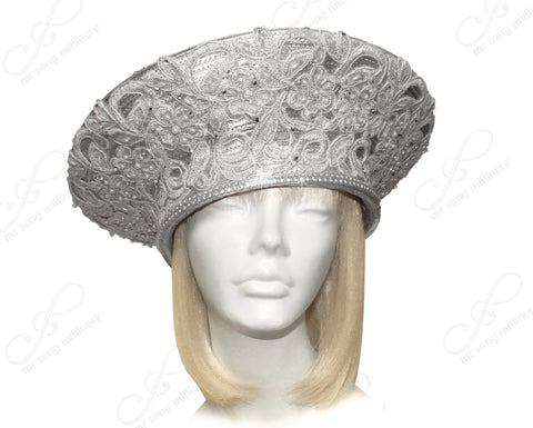 Mr. Song Millinery All-Season Large Berert Hat With Premium Lace - 2 Colors