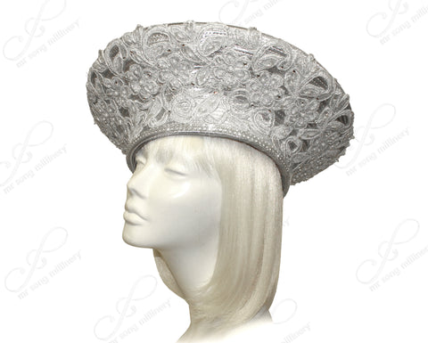 All-Season Large Berert Hat With Premium Lace - Silver
