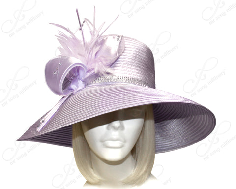 Mr. Song Millinery Wide Tiffany Brim Hat With Modern Floral Accent - Lavender