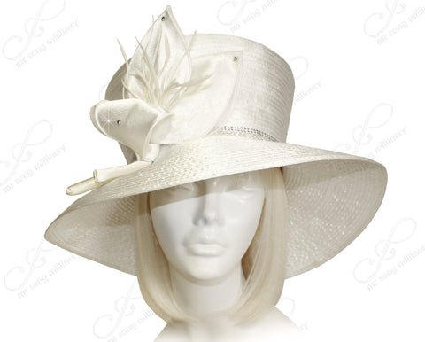 Mr. Song Millinery Flaretop Wide Brim Hat With Floral Accent - Off White