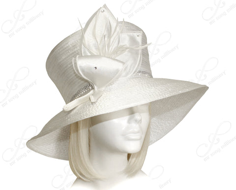 Flaretop Wide Brim Hat With Floral Accent - Off White