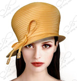 Mr. Song Millinery Bubble Cloche Hat With Rhinestone Knot Bow - Mango