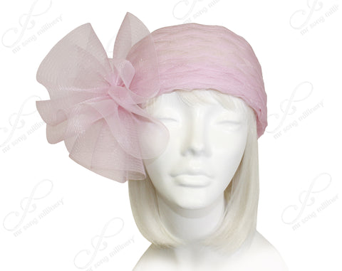 All-Seasin Scalloped Crin Skull Cloche Hat - Pink
