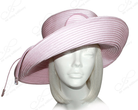 Wide Tiffany Brim Hat With Knot Bow & Rhinestone Accent - 5 Colors
