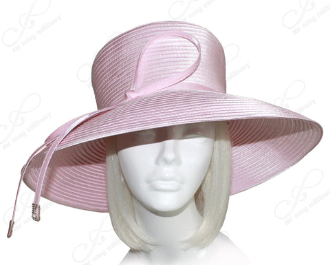 Wide Tiffany Brim Hat With Knot Bow & Rhinestone Accent - Pink