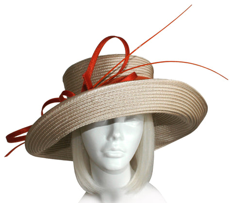 Wide Tiffany Brim Hat With Crin Loop Accent