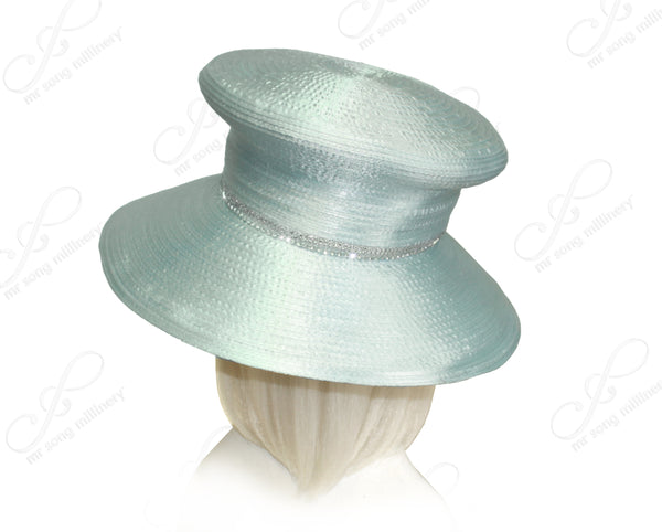 Mr. Song Millinery Mushroom Crown Wide Brim Hat With Organza Floral Accent - Aqua Blue
