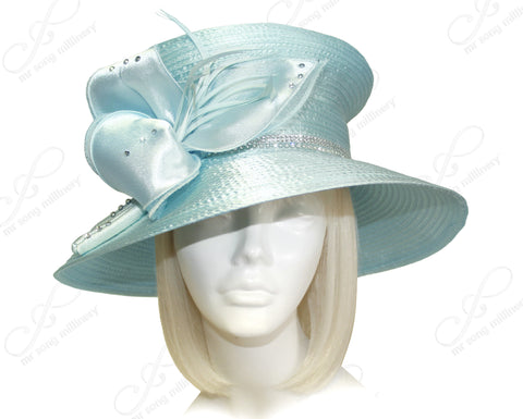 Mushroom Crown Wide Brim Hat With Organza Floral Accent - Aqua Blue