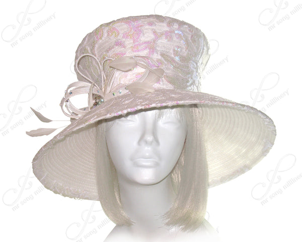 Mr. Song Millinery Flare-Crown Wide Brim Hat With Premium Lace - White