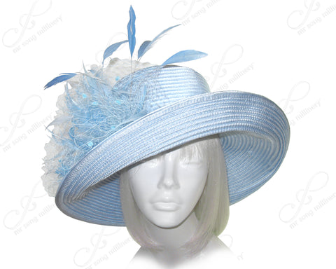 Mr. Song Millinery Wide Tiffany Brim Hat With Birdcage & Feather Accent - 2 Colors