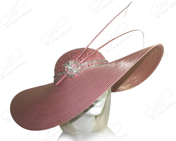 Mr. Song Millinery Extra Wide Brim Hat With Rhinestone Accent - Mauve Pink
