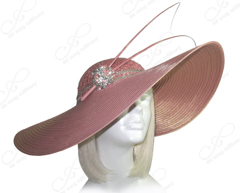 debe17746950 Extra Wide Brim Hat With Rhinestone Accent - Mauve Pink