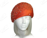 Beret Cloche Hat With Premium Lace & Rhinestones - Orange