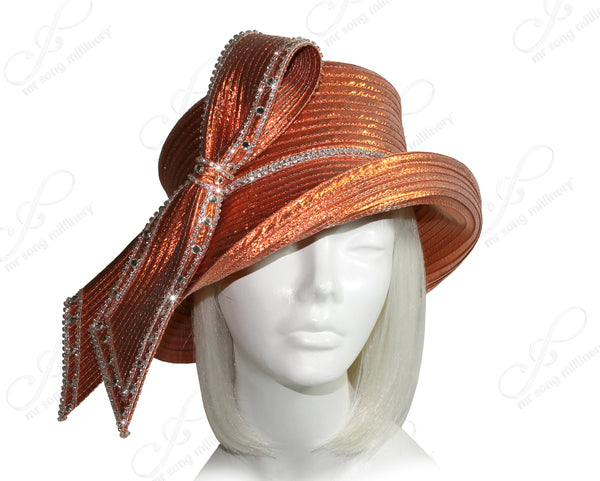 Mr. Song Millinery Medium Brim Hat With Rhinestone Loop Knot - Shimmery Orange
