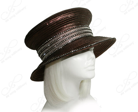 Small Brim Mushroom Crown Hat With Rhinestones - Dark Brown