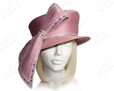 Mr. Song Millinery All-Season Slant Crown Small Brim Hat With Signature Loop Bow - Mauve Pink