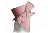 All-Season Slant Crown Small Brim Hat With Signature Loop Bow - Mauve Pink