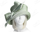 Medium Brim Hat With Rhinestone Knot Bow - Sage Green