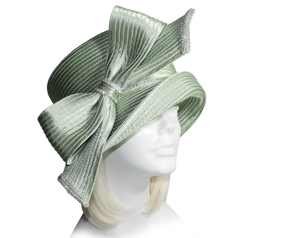 Mr. Song Millinery Medium Brim Hat With Rhinestone Knot Bow - Sage Green