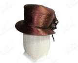 Classic Crown Small Brim With Floral Rhinestone Accent And Tassel - Brown
