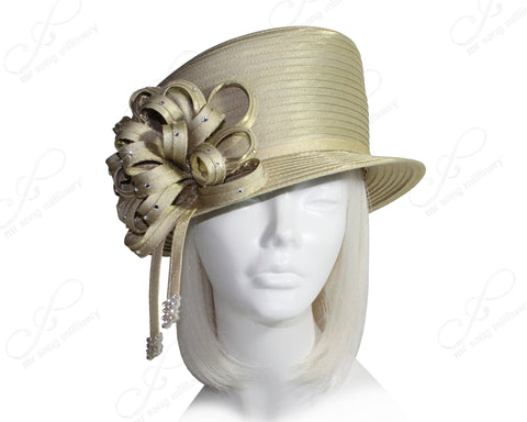 All-Season Slant Crown Small Brim Hat With Signature Flower Cluster - 2 Colors