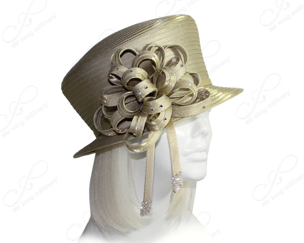 Mr. Song Millinery All-Season Slant Crown Small Brim Hat With Signature Flower Cluster - 2 Colors