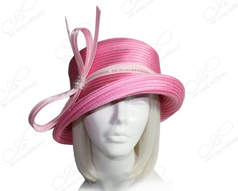 Medium Tiffany Brim Hat With Multi-Loop Knot Bow & Rhinestones - Rose/Pink