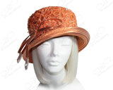 Medium Brim Hat With Rhinestone Shoerstring Knot & Lace - Shimmery Orange