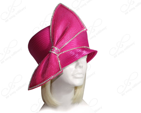 Mr. Song Millinery All-Season Bubble Cloche Hat With Bias Bow - Fuchsia Pink