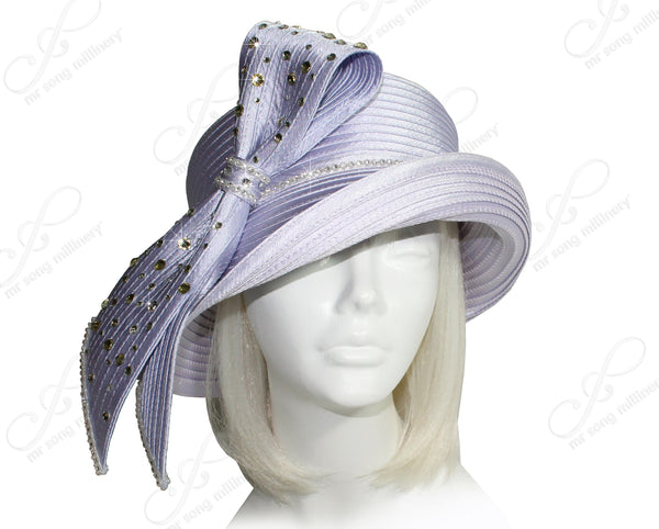 Mr. Song Millinery Medium Brim Hat With Rhinestone Loop Knot - 2 Colors