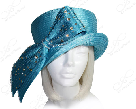 Mr. Song Millinery Classic Crown Small Brim Hat With Rhinestone Loop - Turquoise Blue