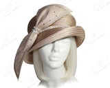 Medium Tiffany Brim Hat With Rhinestone Bias Bow - Beige
