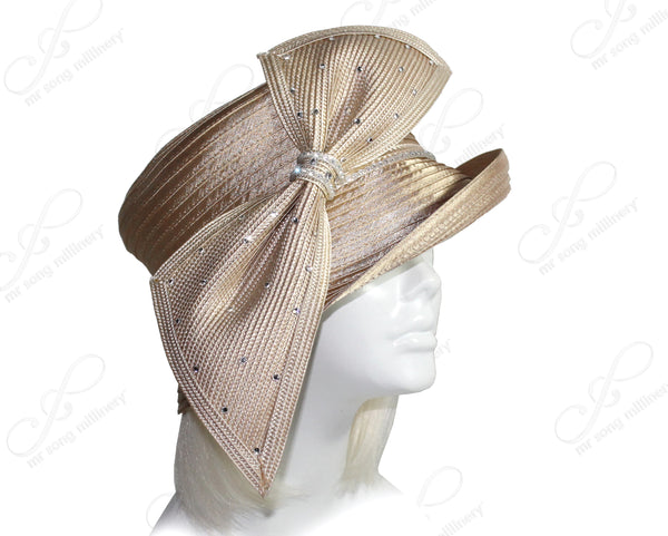 Mr. Song Millinery Medium Tiffany Brim Hat With Rhinestone Bias Bow - Beige