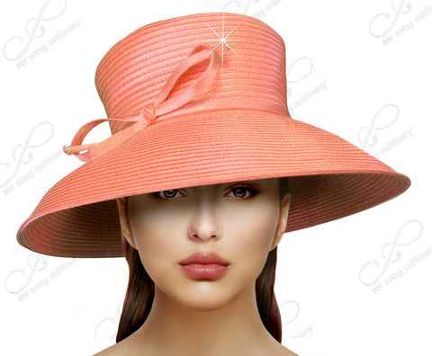 Medium-Large Width Tiffany Brim Hat With Knot Bow Accent Peach