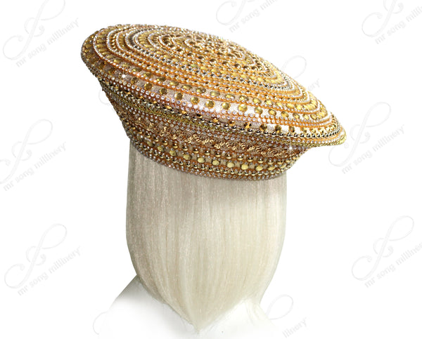 Mr. Song Millinery Rhinestone Pavéd Beret Style Hat - Gold