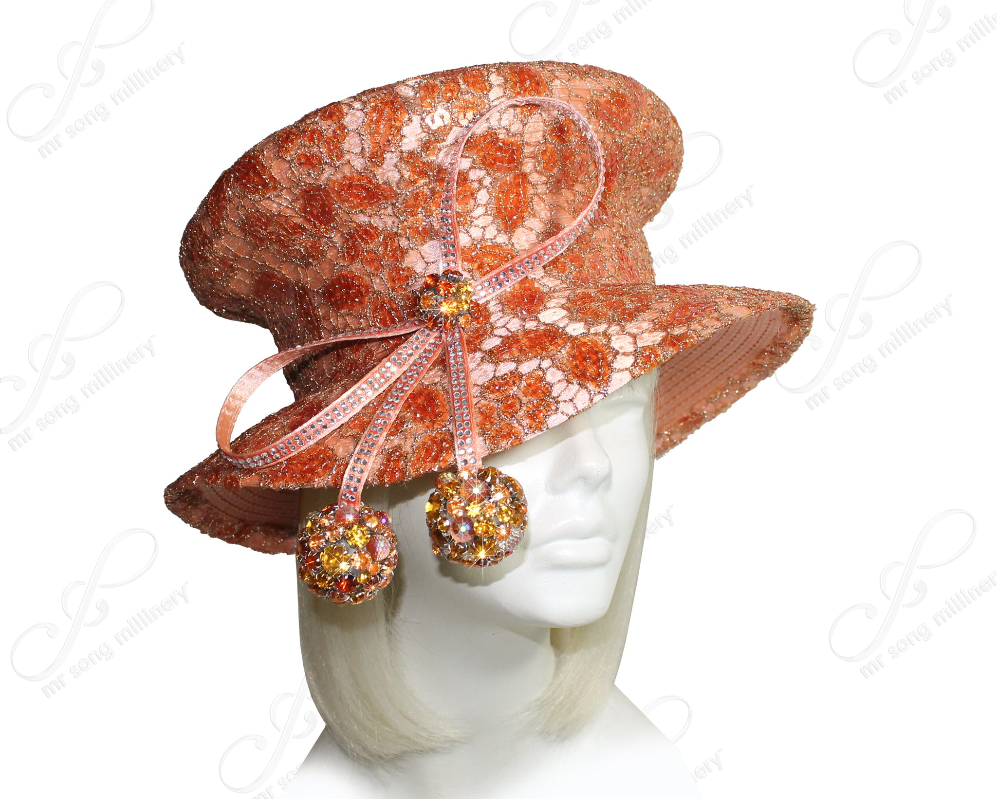Mr. Song Millinery Mushroom Crown Medium Brim Hat With Premium Lace & Rhinestones - Peach Orange