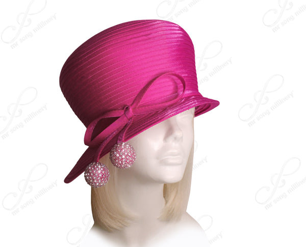 Mr. Song Millinery All-Season Bubble Cloche Hat With Rhinestone Drops - Fuchsia Pink