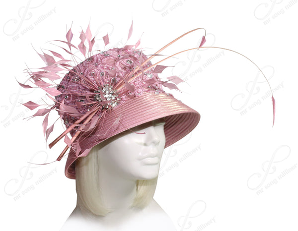 Mr. Song Millinery Medium Tiffany Brim Hat With Lace & Feathers - Muave Pink